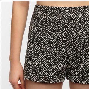 Urban Outfitter Black Jacquard Aztec High Shorts